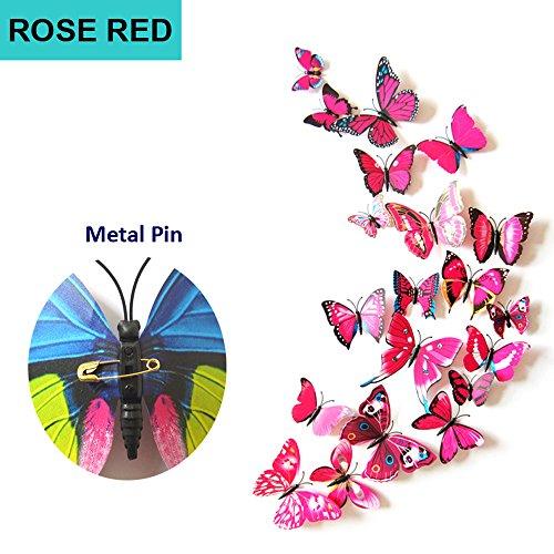ufengke® 12 Pezzi 3D Farfalle Adesivi Murali Fashion Design DIY Farfalla Colorata Arte Adesivi da Parete Artigianato Decorazione Domestica, Rosa