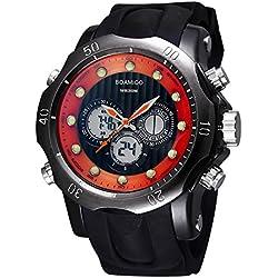 BOAMIGO Luminous Alarm Week 50M Waterproof Quartz Digital Mens Watch (Gun Black Red)