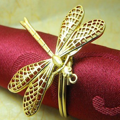 WYFC Dragonfly Serviettenring. Metall. 4cm. Set 12. . gold -