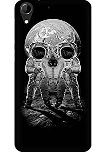 AMEZ designer printed 3d premium high quality back case cover for HTC Desire 728 (Astronauts Merge Skull Optical Illusion)