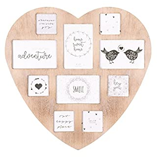 Invero® Large 10 Photo Multi Picture Shabby Chic Wall Vintage Rustic Heart Shaped Frame ideal for Home Kitchen or Gifts
