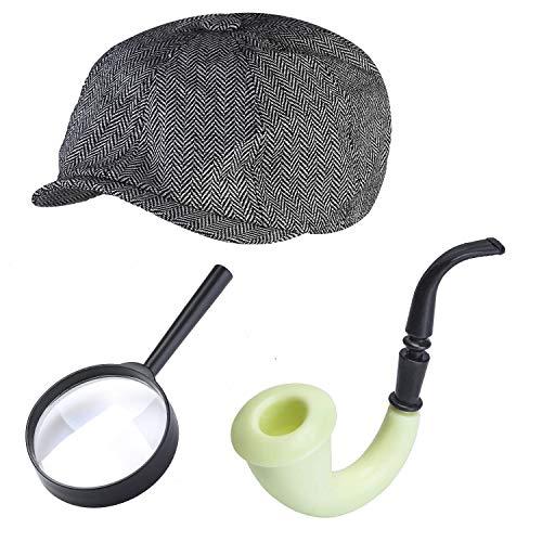 Beefunny Detektiv Zubehör Kit Kostüm Zubehör Set Detektiv Hut Lupe Tabak Pfeife Verkleidung Kostüm Set mehrfarbig. ( A ) (Detektiv Hut Kostüm)