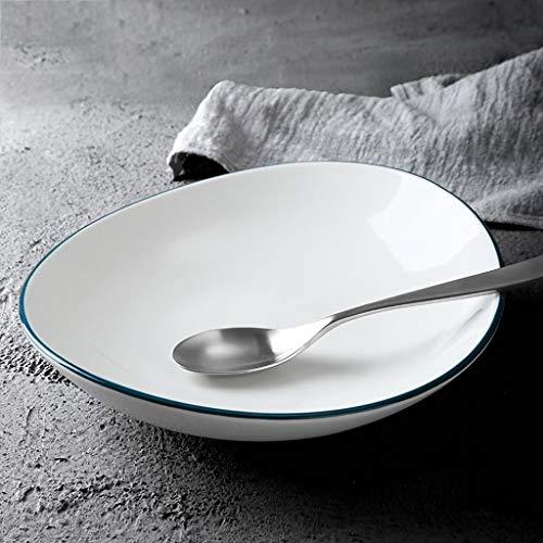 LI plaque- Assiette creuse en céramique ovale européenne créative Plat de pâtes à salade de fruits et de légumes (1 emballage) tableware (taille : S)