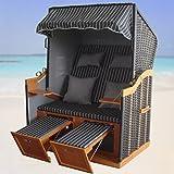 XINRO® – XY-71 – Volllieger Ostsee Strandkorb anthrazit inkl. Strandkorbhülle u. 4x Kissen, – schwarzes Polyrattan, Ostsee Strandkorb Form - 3