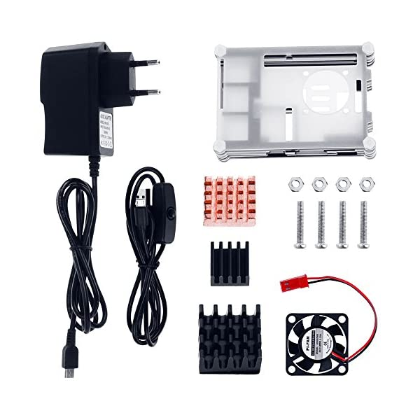 51T%2BPrglWVL. SS600  - Zacro 5-EN-1 Kit para Raspberry Pi 3 y 2 , Caja de 9 Capas de Refrigeración + Mini Fan con 4 Tornillos+ USB Cable Encendido + 3 Disipador de calor + USB Cable Cargador