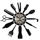 TOOGOO Reloj creativo de vinilo de Grabar CD Reloj de pared de arte con diseno de Patron de Herramientas de Peluqueria Peluquero