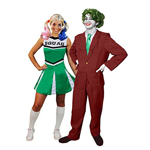JOKER CHEERLEADER PAAR KOSTÜM VERKLEIDUNG HALLOWEEN KARNEVAL FASCHING =GRÜNES CHEERLEADER KLEID+PERÜCKE+MAKE UP+HOSENANZUG+KRAWATTE+PERÜCKE+HANDSCHUHE + MAKE UP= CHEERLEADER-LARGE + JOKER-XLARGE