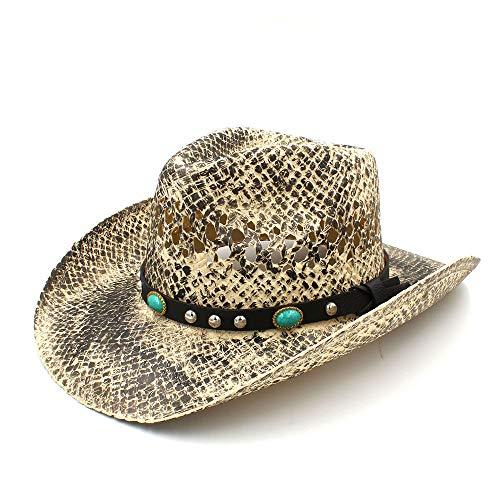 MXL Western Cowboy-Hut der Frauen handgemachtes Gewebe Dame Sombrero Hombre Cowgirl Jazz Caps Punk (Farbe : Natürlich, Größe : 58 cm)