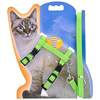 ASTrade Cat Lead Leash Halter Body Harness Kitten Nylon Strap Belt Safety Rope Adjustable Small Cat Dog Collar by TheBigThumb, Green