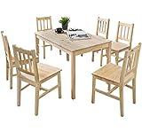 FineBuy Esstisch mit 6 Stühlen Kiefer Holz Braun Tisch 120 x 73 x 70 cm | Esszimmerset 7 teilig | Esstischset Küche & Esszimmer | Esszimmergarnitur für 6 Personen | Tischgruppe Natur