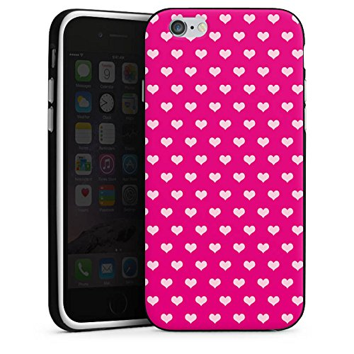 Apple iPhone X Silikon Hülle Case Schutzhülle Polka Herzchen Muster Rot Silikon Case schwarz / weiß