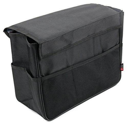 DuraGadget faltbare Kofferraumtasche mit Netzfächern und Klettverschluss für´s Auto (Schwarz, wasserabweisendes Polyester-Material)