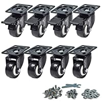 CoolYeah 50mm Swivel Plate Caster PVC Wheels, Premium Casters (Pack of 8, 4 with Brake & 4 Without)