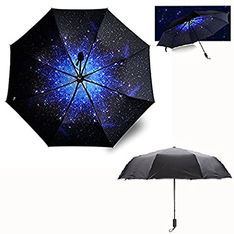 Itian New Release Starry Double Layer Sky Folding Sun Umbrella UV Protection Umbrella Rain Umbrella for Travel Outdoor with Art Painting Print, Wind &