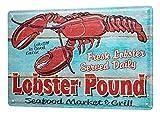 Blechschild Essen Restaurant Deko Lobster frisch Markt