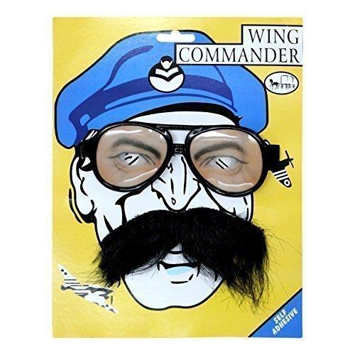 �m Brille & selbstklebende Schnurrbart (A Wing Pilot Kostüm)