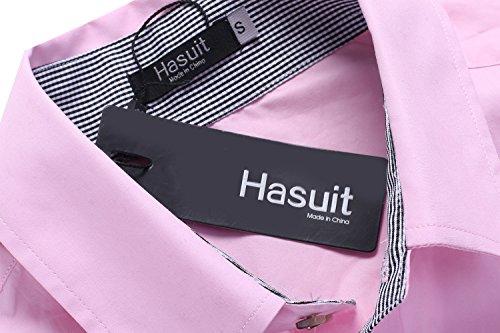 Hasuit Herren Hemd Baumwolle Slim Fit Langarm Farbekombination Basic Mode Rosa