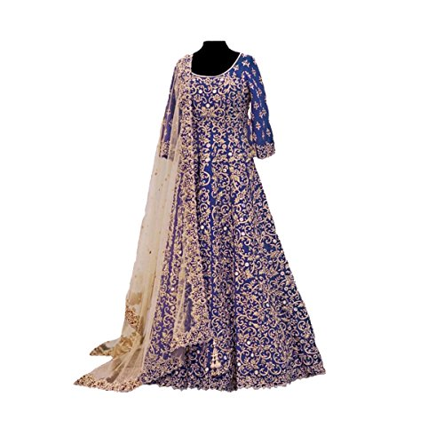 Aryan Fashion Women\'s Banglory Silk Dress Material (AFS-AAAEV11143_Free Size_Blue)