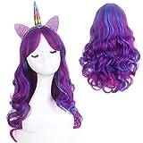 STfantasy Peluca de unicornio para mujer y niña, disfraz de Halloween, anime cosplay, disfraz de dos tonos, color azul, morado y morado, pelo sintético Ombre