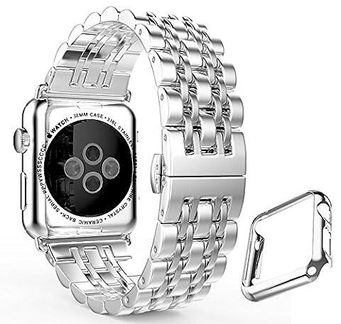 Apple Montre bande, fucool en métal en acier inoxydable bande