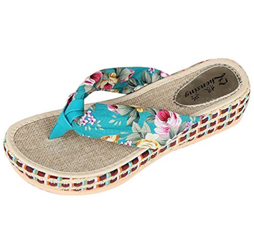 Sentao Frauen Böhmen Floral Strand Sandalen Sommer Schuhe Hausschuhe Flip Flops Slippers Blau