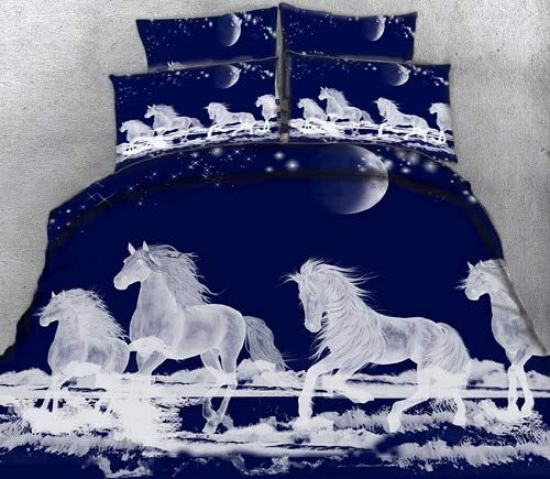 RONGXIE Maßgefertigte Bettgarnitur Unicorn 3D Bettgarnitur Twin Queen California King Size Bett/Flachbett Bettwäsche Set Bettbezug Bettbezug Kissenbezug - California King-size-bett Bettdecken