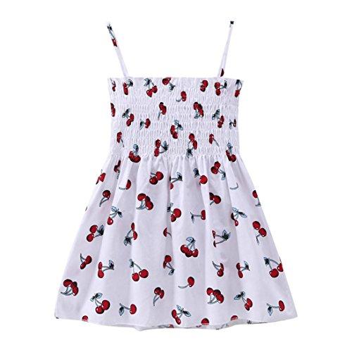 Mädchen Kleider Beikoard Kleidung Sommerkleid Casual Kleider Mädchen Kleider Kinderkleidung Kleider Mädchen Festliche Kinderkleide Junges Mädchen Schlinge Kleider Ärmelloses Kleider (130, Weiß)