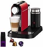 Krups YY1473FD Nespresso Citiz & Milk - Cafetera de monodosis con espumador de leche, color rojo