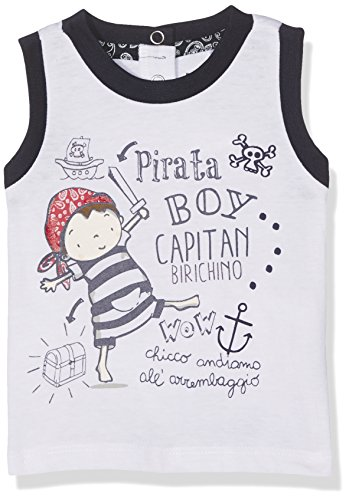 Chicco Baby-Mädchen Achselshirt 09061870000000 Blu (White and Blue), 56 (Shirt White Pirate)