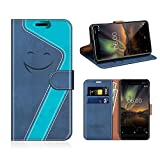 MOBESV Smiley Nokia 6 2018 Hülle Leder, Nokia 6.1 Tasche Lederhülle/Wallet Case/Ledertasche Handyhülle/Schutzhülle für Nokia 6.1 / Nokia 6 2018, Dunkel Blau/Aqua