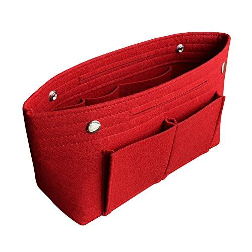 APSOONSELL Organizador de bolsos de mujer para colgar, Bolso organizador de maquillaje, Fieltro - Mediano, Rojo
