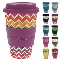 Idea Regalo - ebos Fortuna caffè-a-Go Tazze di bambù | Tazze di caffè, Tazze di Bevanda | degradabili nell'ambiente, riciclabile, Ecologico | Cibo Sicuro, Lavabile in lavastoviglie (Jagged Rainbow)