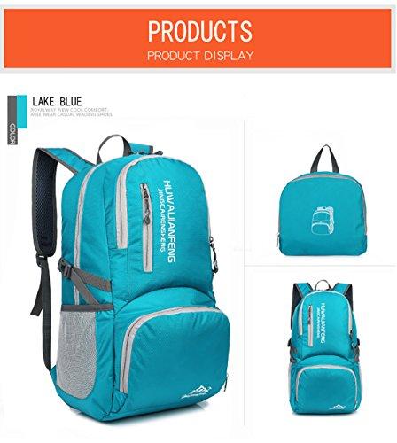 LJ Sport Unisex Outdoor Faltbarer 40L Rucksack Wasserdicht für Reisen Wandern Camping Radfahren See Blau