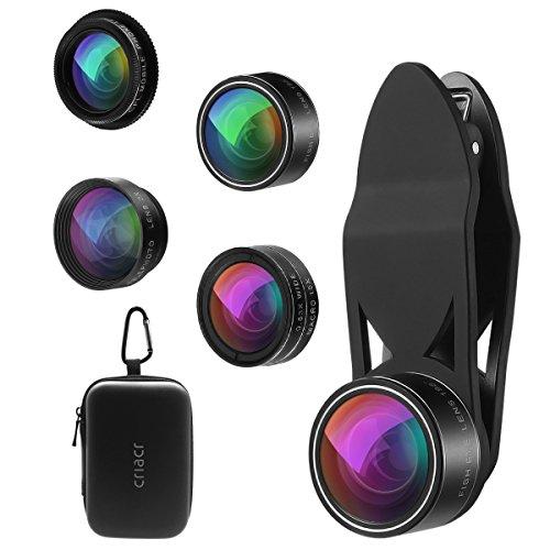 Criacr 5 in 1 Clip-On Handy Objektive, 198° Fisheye Objektiv + 2X Teleobjektiv + 0.63X Weitwinkel objektiv + 15X Makro objektiv + CPL Lens für Samsung HTC Huawei Smartphones & Tablet