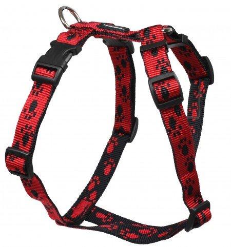 Feltmann Mopsgeschirr Hundegeschirr Soft Nylon, Rot, Schwarze Pfötchen, 7-13 kg, 20mm
