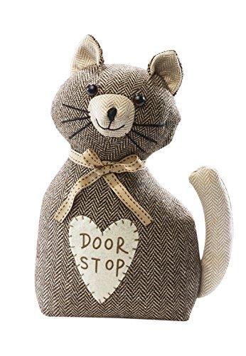 Türstopper Katze Türpuffer Bodentürstopper braun aus Stoff gefüllt mit Sand Stoff Hundertprozent Polyester