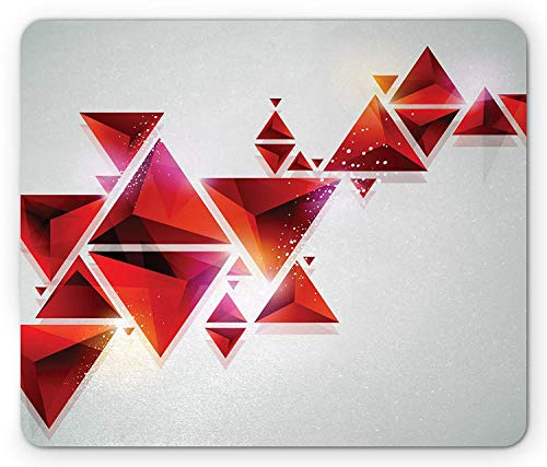 Abstract Mouse Pad, Geometric Triangle Shapes Ombre Little Big Shaped Modern Cool Artwork, Standard Size Rectangle Non-Slip Rubber Mousepad, Red Orange and White - Red Belkin Components