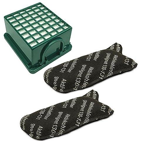 1 Filterset 1 Hepa Filter H 12 grün + 2 Kohlefilter passend für Vorwerk Kobold 130 + 131 + SC Staubsauger
