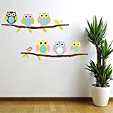Cartoon Cute Six Owl on the Tree DIY Wall Wallpaper Stickers Art Decor Mural Kid's Child Room Decal waterproof