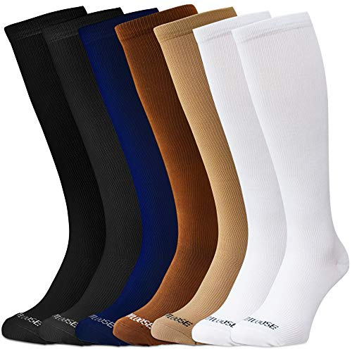 FOOTLOOSE Knie High Compression Socken, für Damen und Herren, 15-20mmHg, Light/Moderate Kompression, Verschiedene Farben, Große-Extra Große, 7Paar, Damen, Sortiert, Large - Extra Large - über Männer-schwarz Kalb-socken Das Für