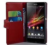 Cadorabo - Book Style Hülle für Sony Xperia Z - Case Cover Schutzhülle Etui Tasche mit Kartenfach in CHILI-ROT