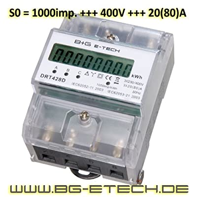 digitaler Stromzähler DRT428D Drehstromzähler für DIN Hutschiene, Wattmeter, Energiemessgerät 400V 20(80)A von B+G E-Tech - Lampenhans.de