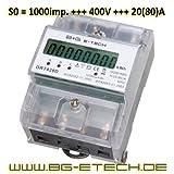 B+G DRT428D - Contador de corriente digitales (polifásica para DIN, vatímetros, medidor de energía 20(80) A, 400 V)