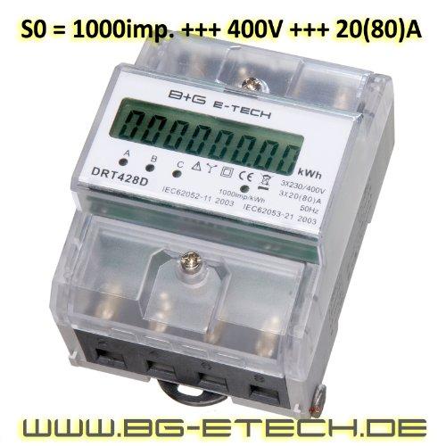 B+G E-Tech DRT428D - digitaler Stromzähler Drehstromzähler Wattmeter für DIN Hutschiene , Energiemessgerät direktmessend 3x230/400V 20(80)A