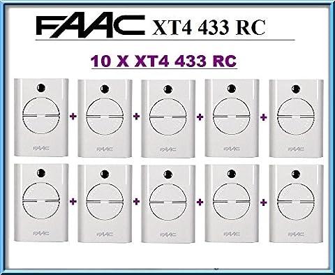 10 X FAAC XT4 433 RC 4-canaux Télécommandes BLANC (Model: 787452). 433,92Mhz rolling code pour Porte de Garage!!! 10 FAAC Emetteurs de haute qualité pour LE MEILLEUR PRIX!
