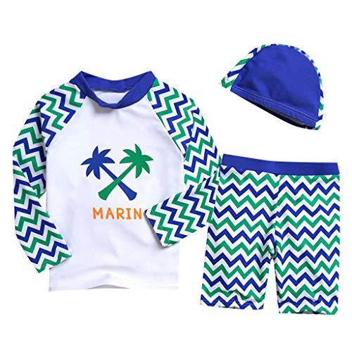 feiXIANG Baby Kinder Badeanzug Bademode Schwimmbekleidung, UV Schutz Badebekleidungs Lange Hülsen 3-teiliges, Tops/Badehose/Badekappe(Blau,18-24 ()