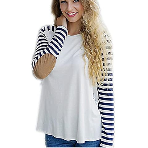 Byjia Stripe Mosaic Casual T-Shirt Loose Womens Souhait Moulante Manches
