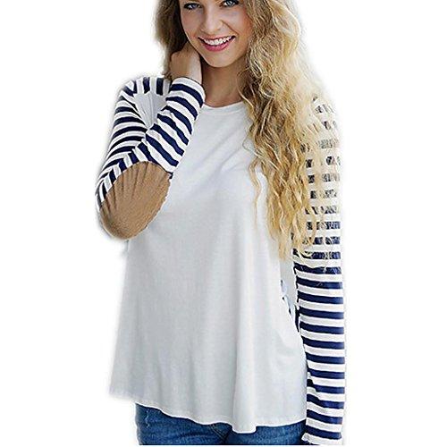 Byjia Mosaik Streifen Lässig Lockeren T-Shirt Damen Wunsch Slinky Langarm Tops Club Night Party Bodenbildung Shirt . (Slinky Dance Kostüm)