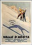 Herbé TM Poster/Reproduction 30x42cm d'1 Affiche Vintage/Ancienne Ski VALLéE D'AOSTA/RéTRO...