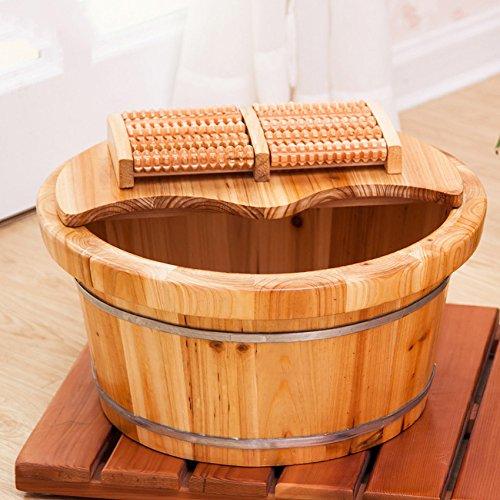ERHANG Holzfußwanne Wickelfuss-Fußbad Fußbadewanne Fußwanne Fußwanne Fußbadewanne Mit Deckel,WoodColor